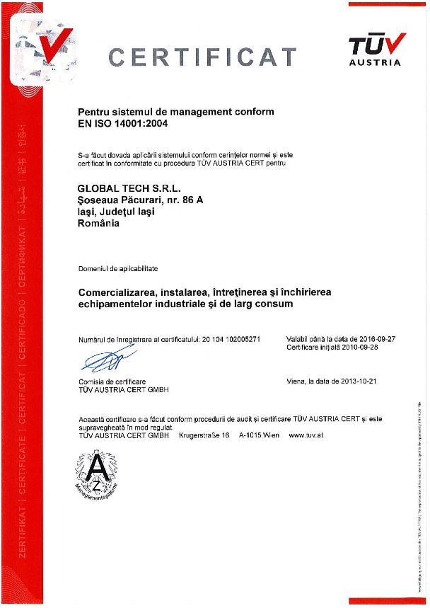 Certificari mediu ISO 14001 pentru Global Tech