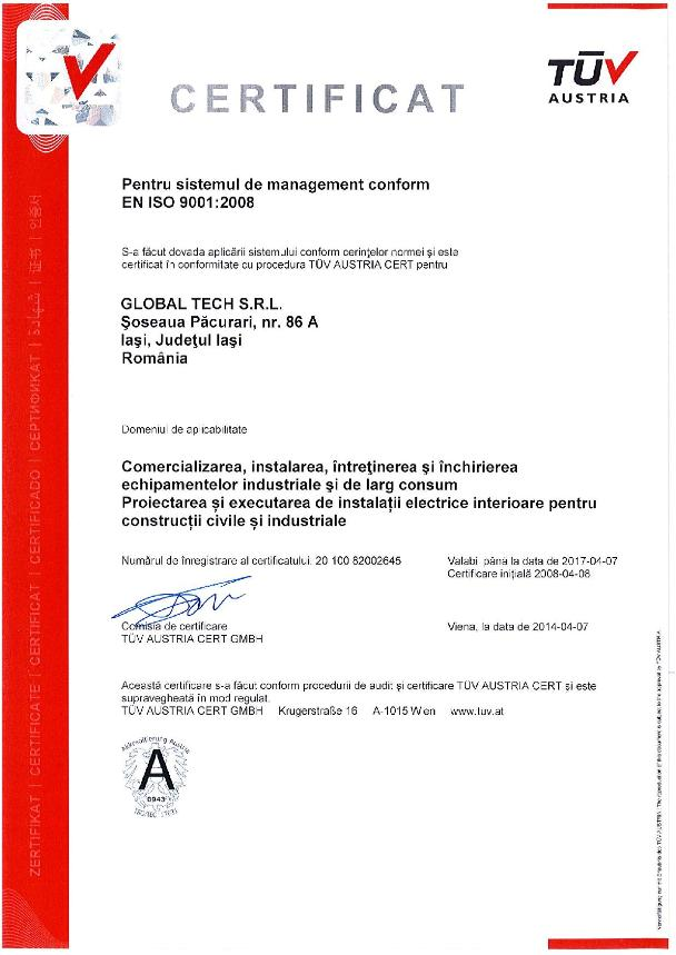 Certificari management ISO 9001 pentru Global Tech