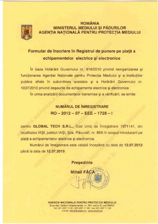 Inregistrare EEE la Ministerul Mediului pentru Global Tech