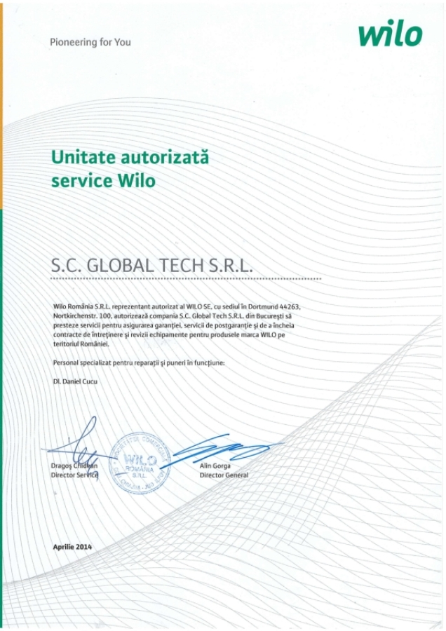 Atestat service pompe Wilo - Global Tech